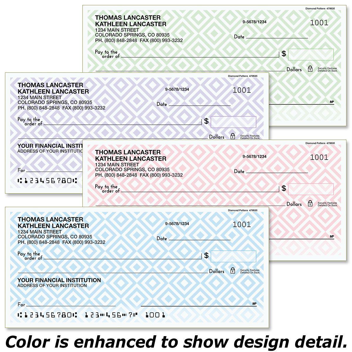 Diamond Pattern Personal Checks
