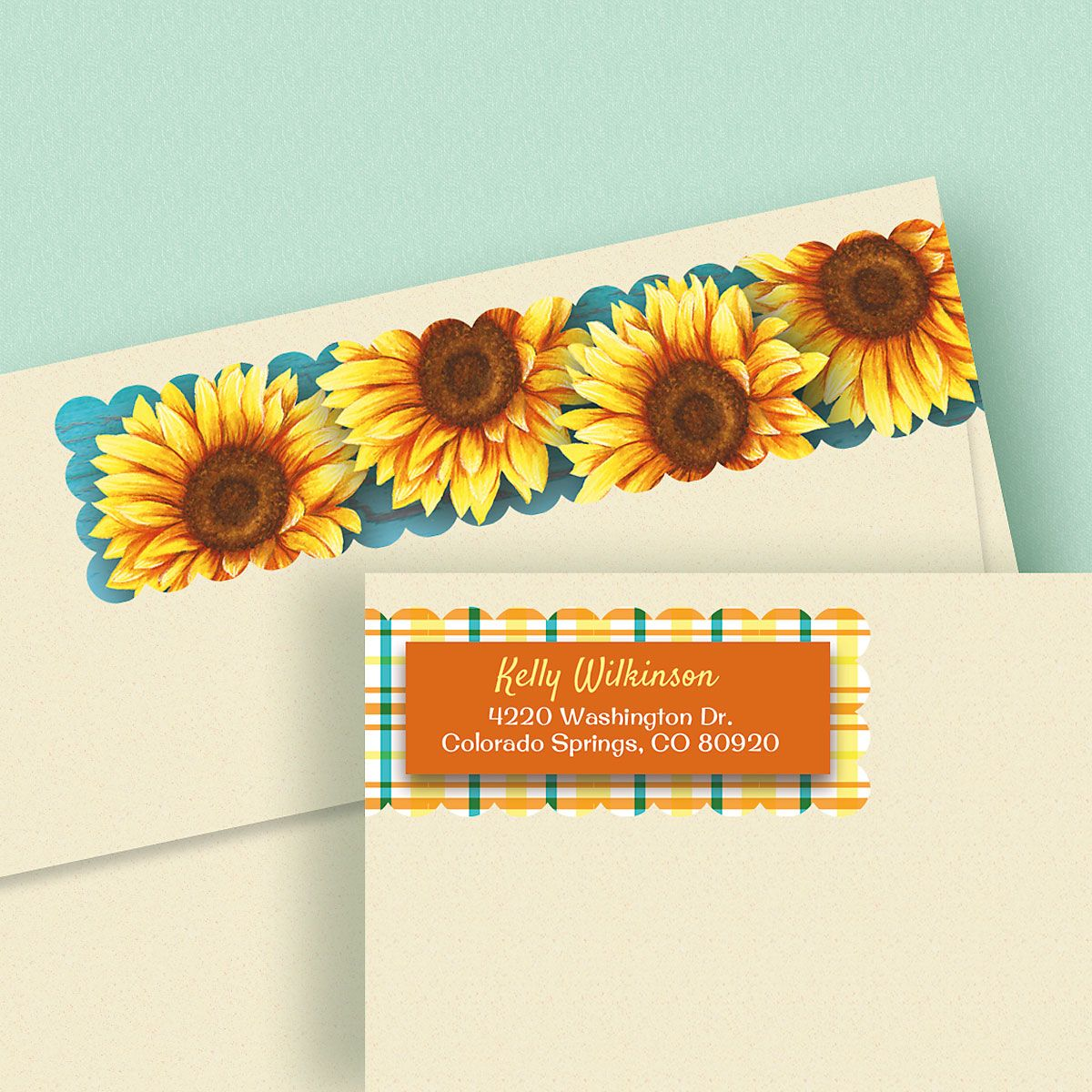 Summer Sunflower Connect Wrap Diecut Address Labels
