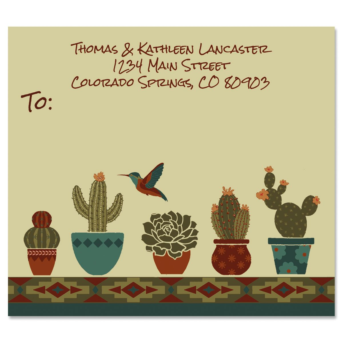 Southwestern Cactus Flower Package Labels