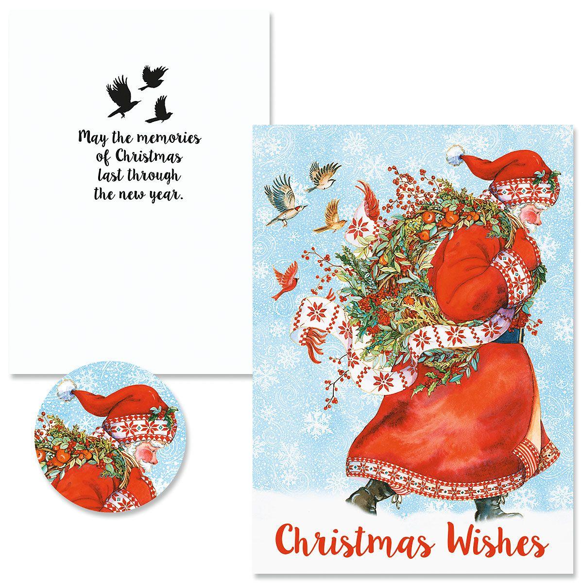 Santa Wreath Christmas Cards