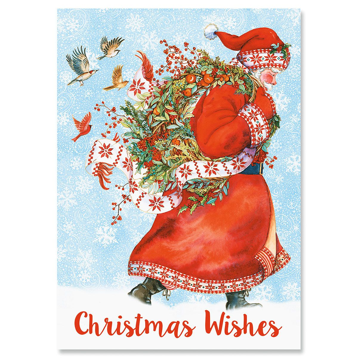 Santa Wreath Christmas Cards - Nonpersonalized