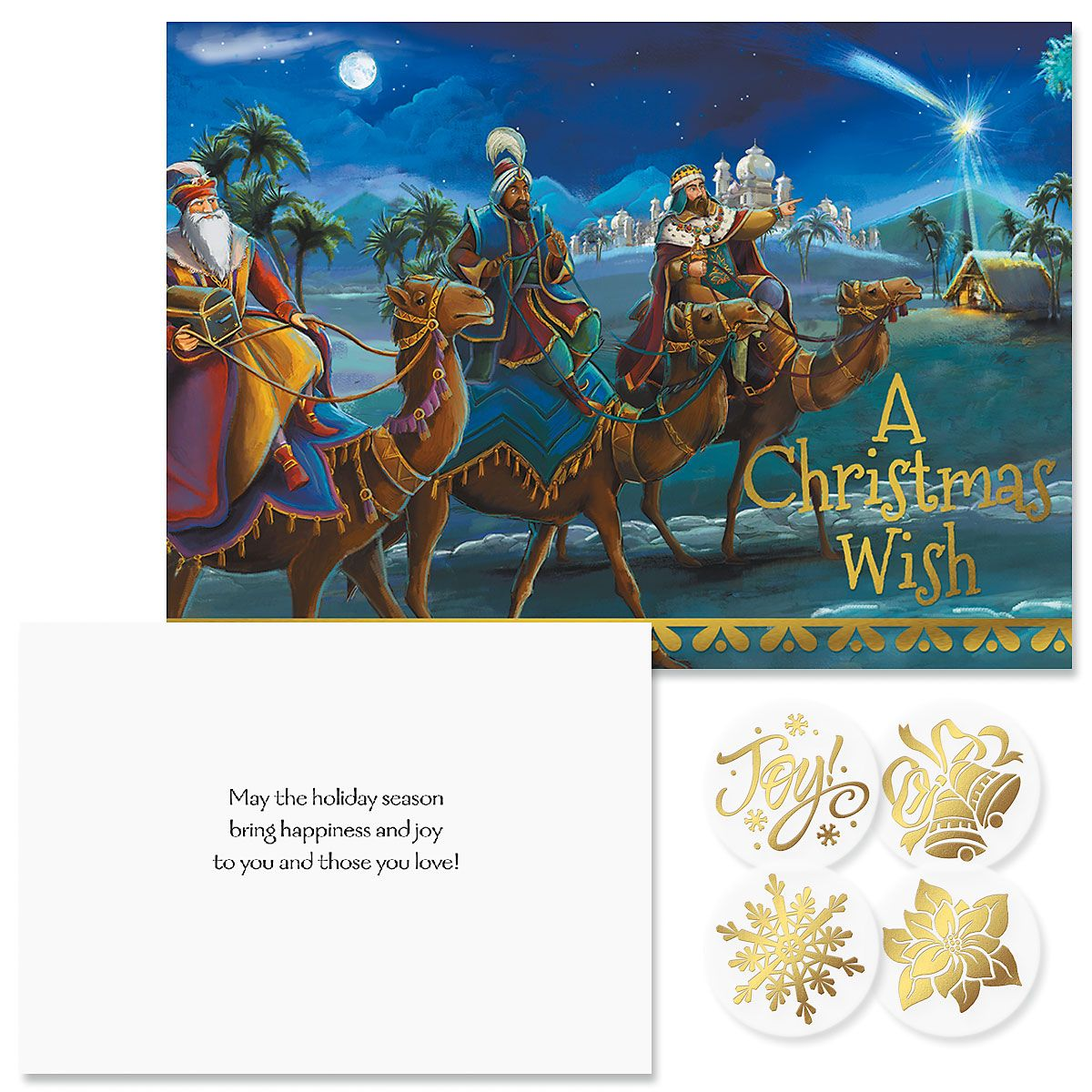 3 Kings & Holy Family Foil Christmas Cards
