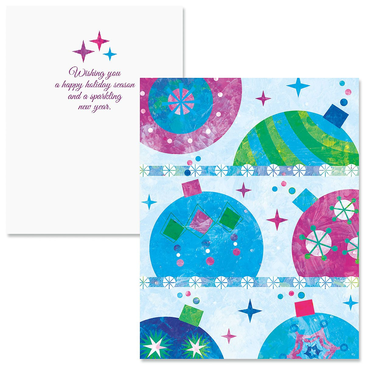 Graphic Ornaments Note Card Size Christmas Cards