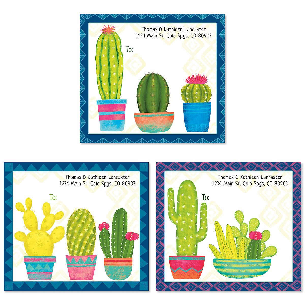 Colorful Cactus Package Labels (3 Designs)