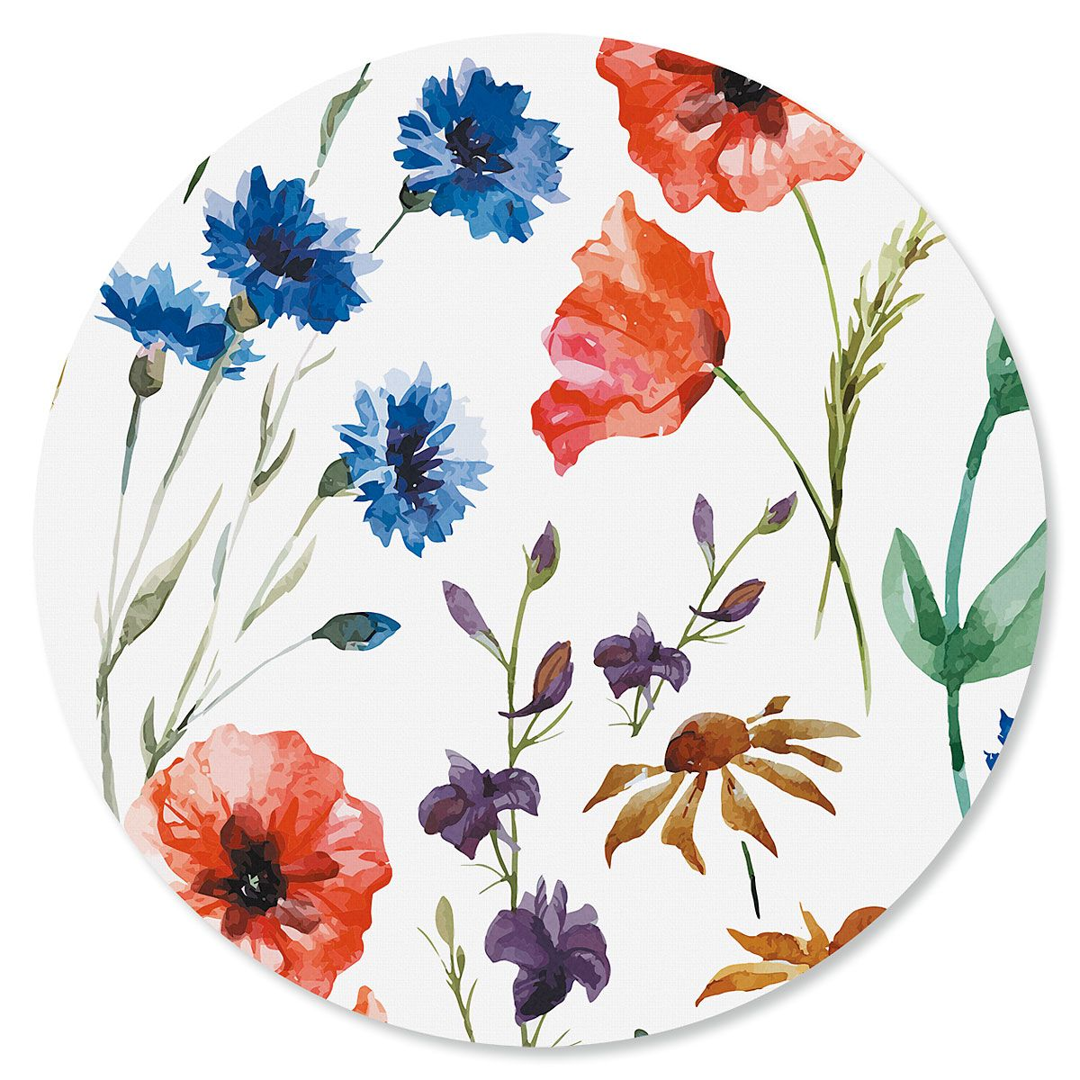 Wild Flowers Round Mouse Pad