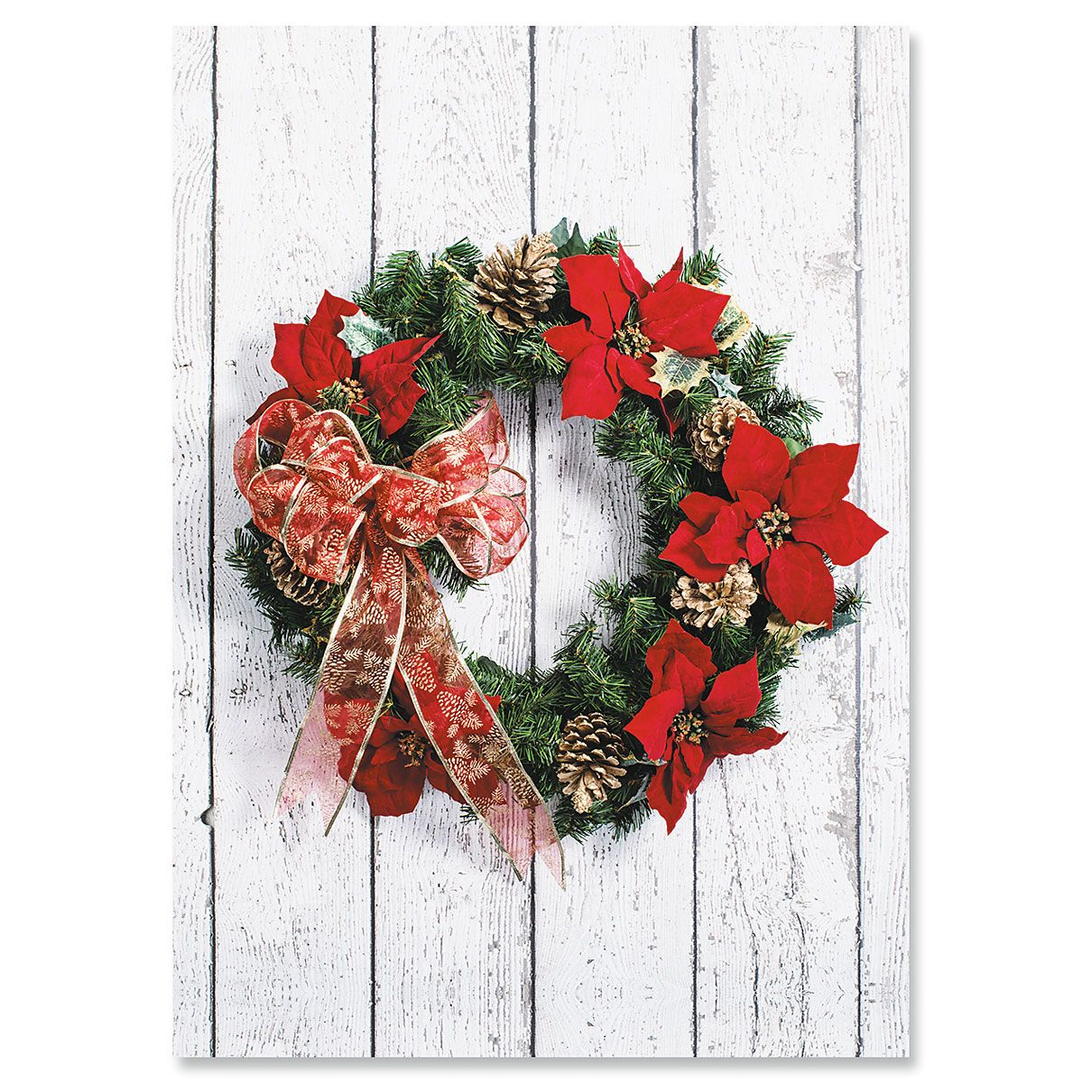Poinsettia Wreath Christmas Cards - Personalized