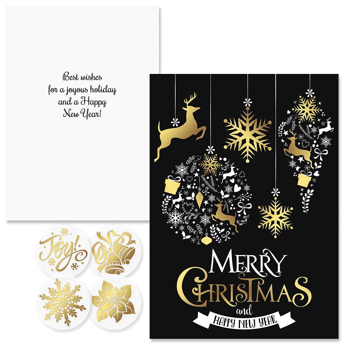 Festive Holiday Foil Christmas Cards