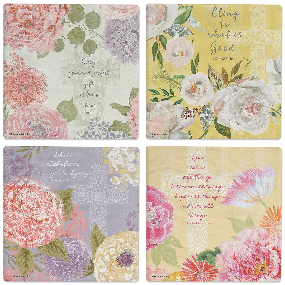 Faithful Florals Ceramic Coasters