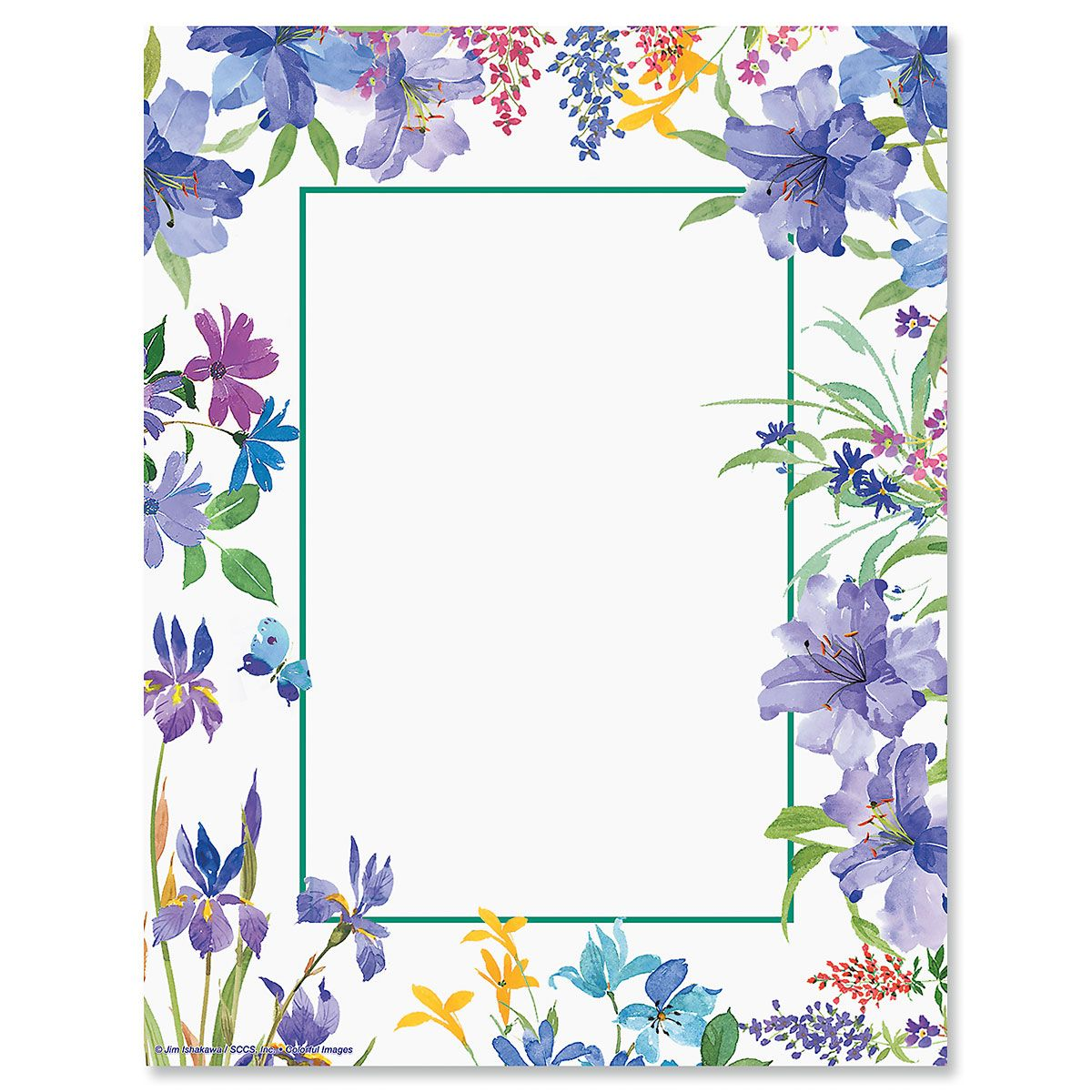 Purple Scatter Floral Letter Papers