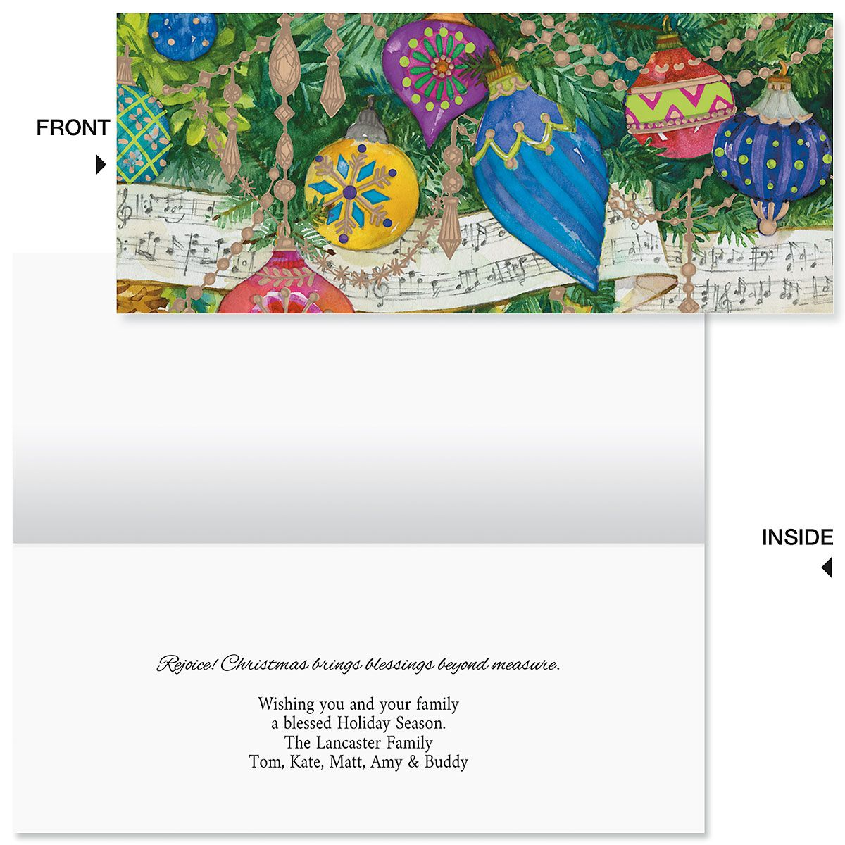 Music Garland Slimline Holiday Cards