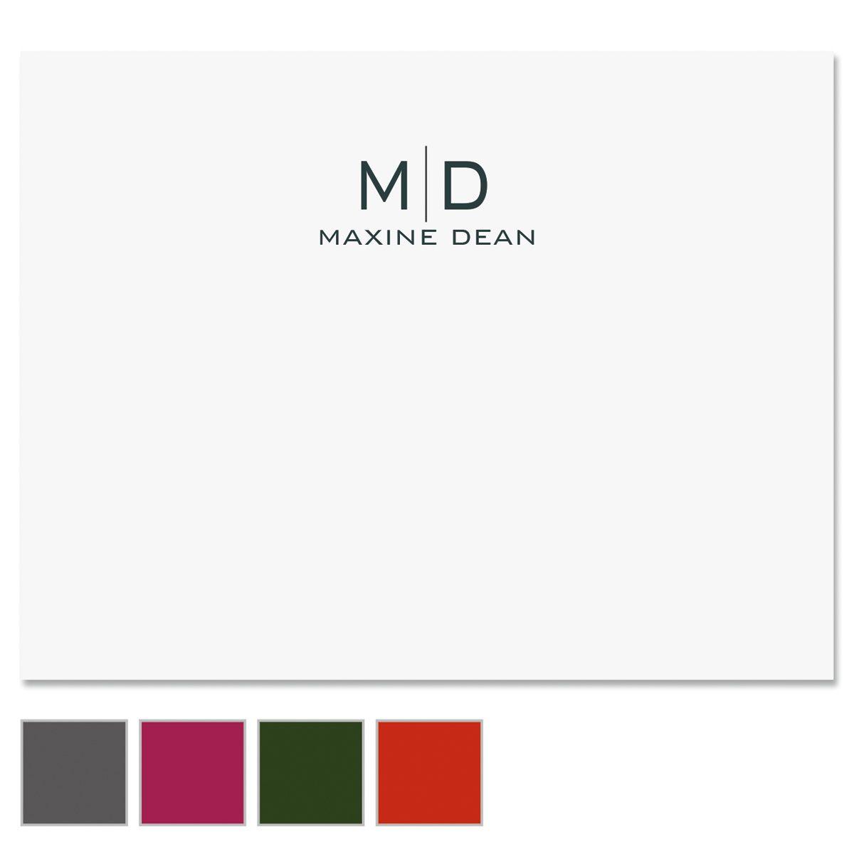 Thin Line Monogram Custom Note Cards