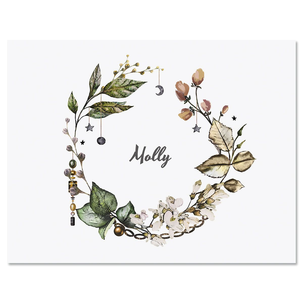 Whimsical Wreath Custom Note Cards