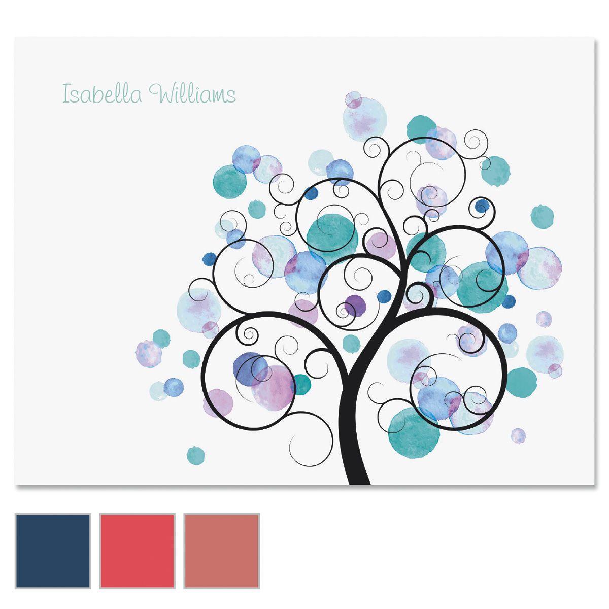 Watercolor Tree Custom Note Cards