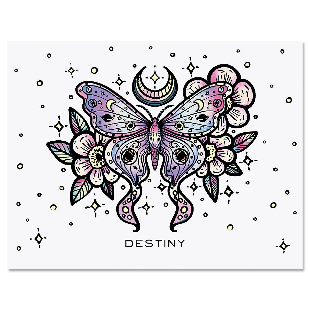 Floral Butterfly Custom Note Cards