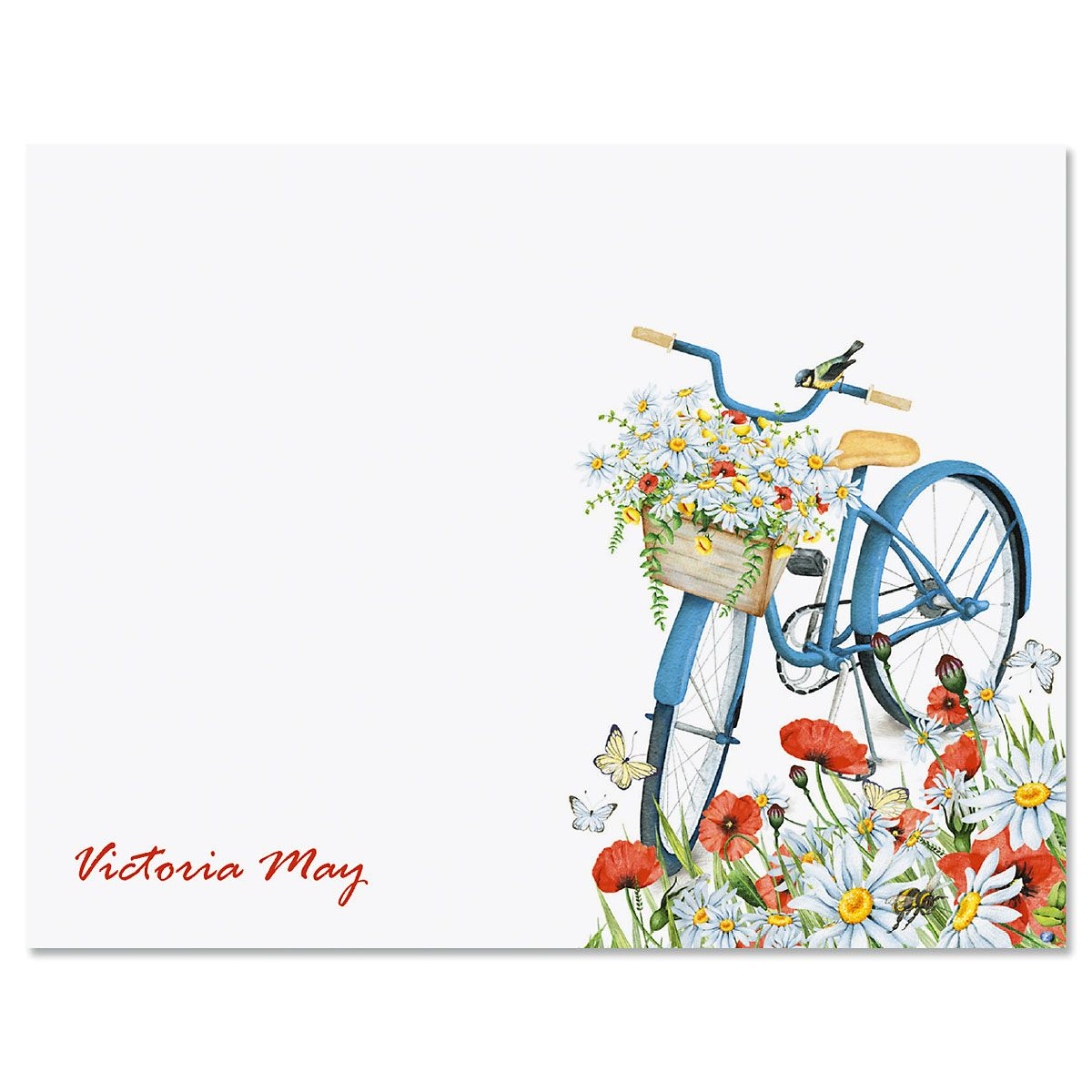 Floral Bike Custom Note Cards