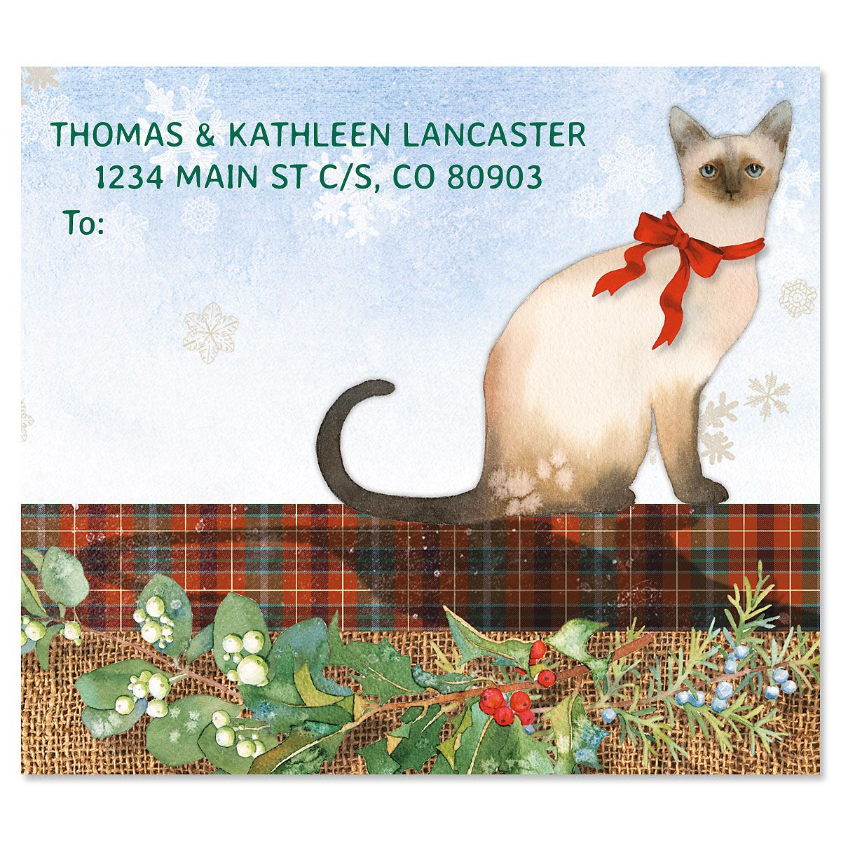 Christmas Cat Package Labels