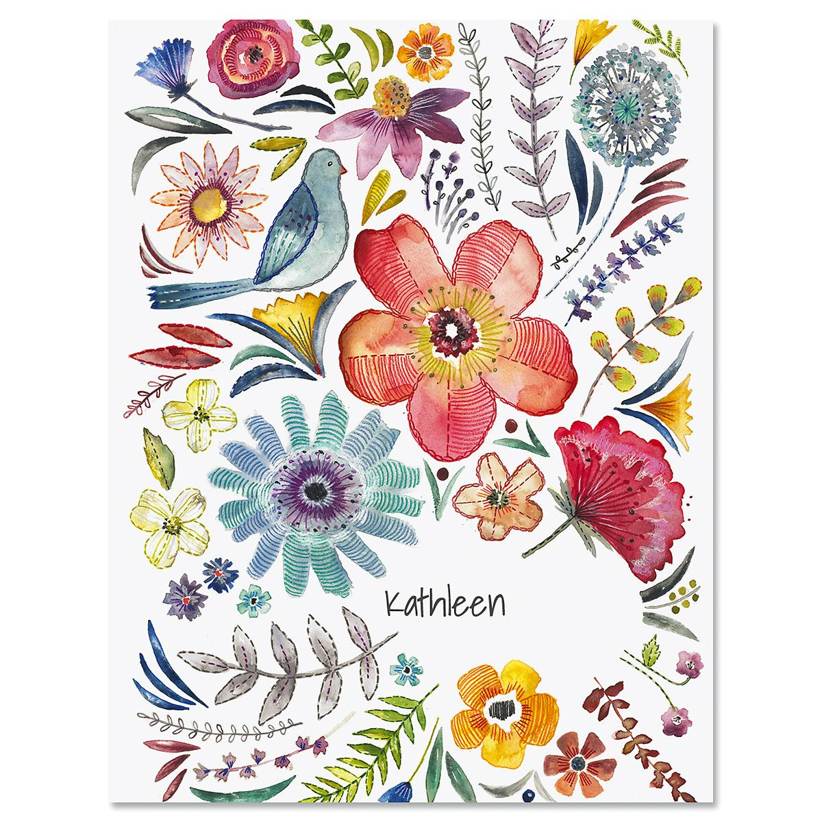 Embroidered Florals Custom Note Cards