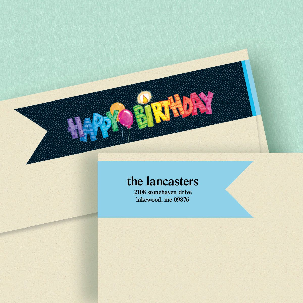 Striped Birthday Connect Wrap Diecut Address Labels