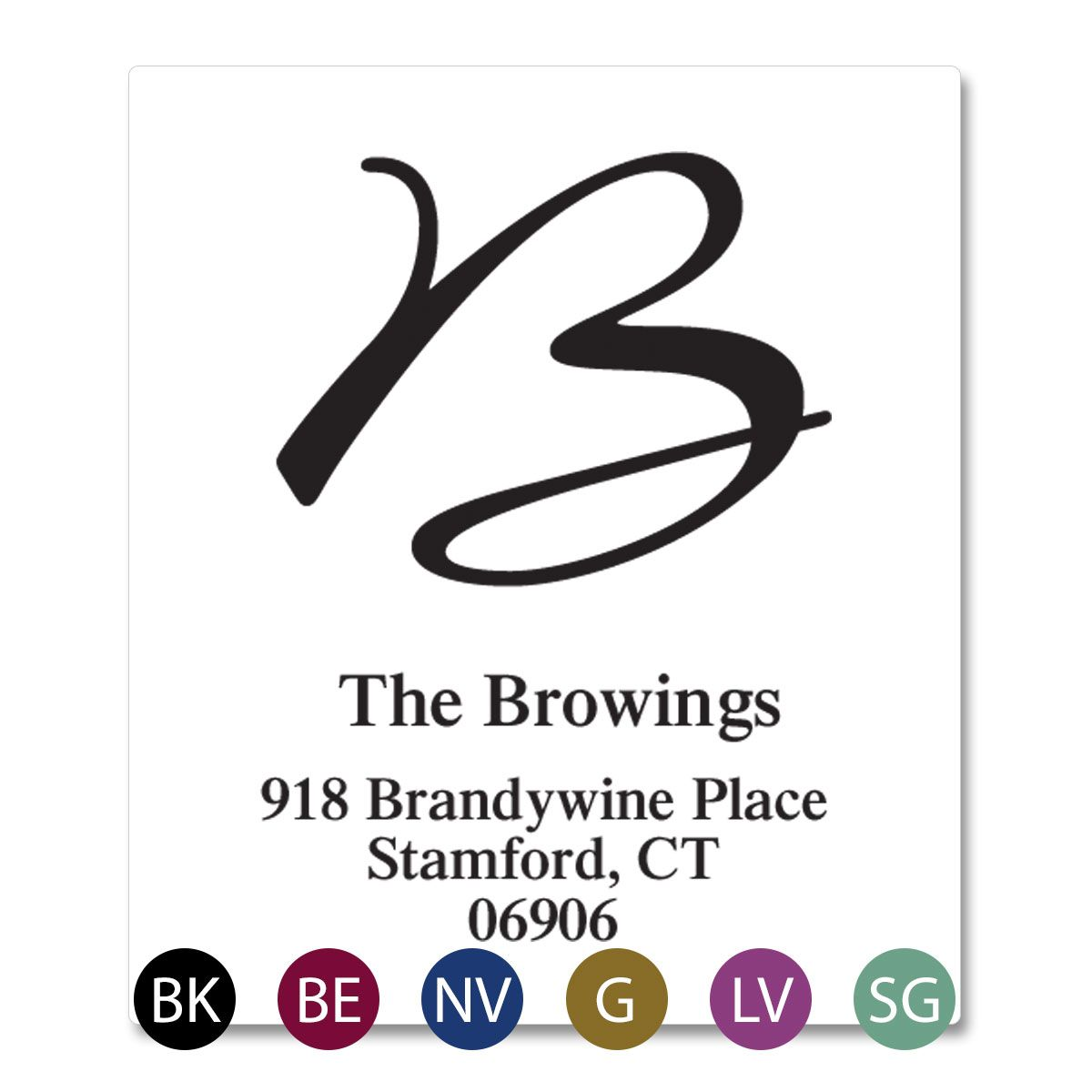 Grand Initial Select Return Address Labels  (6 Colors)