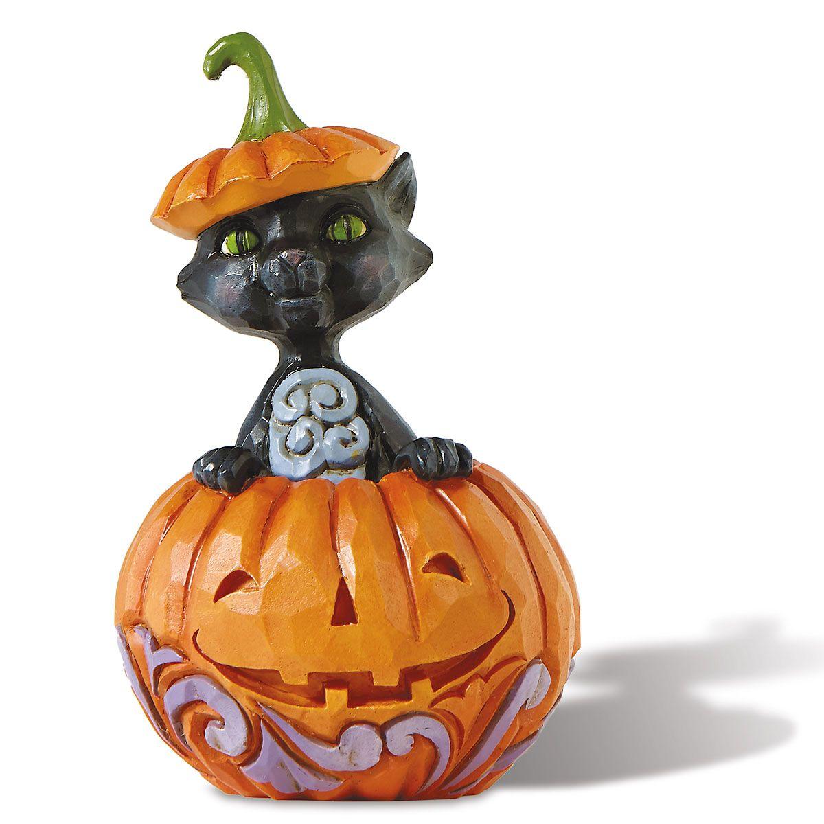 Jim Shore Cat in Pumpkin Mini Figurine