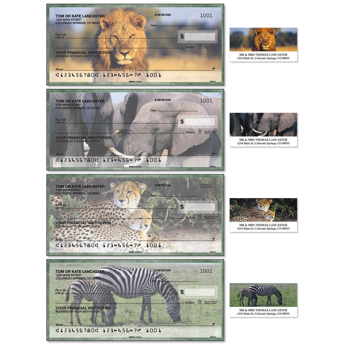 Wildlife of Africa Duplicate Checks with Matching Address Labels