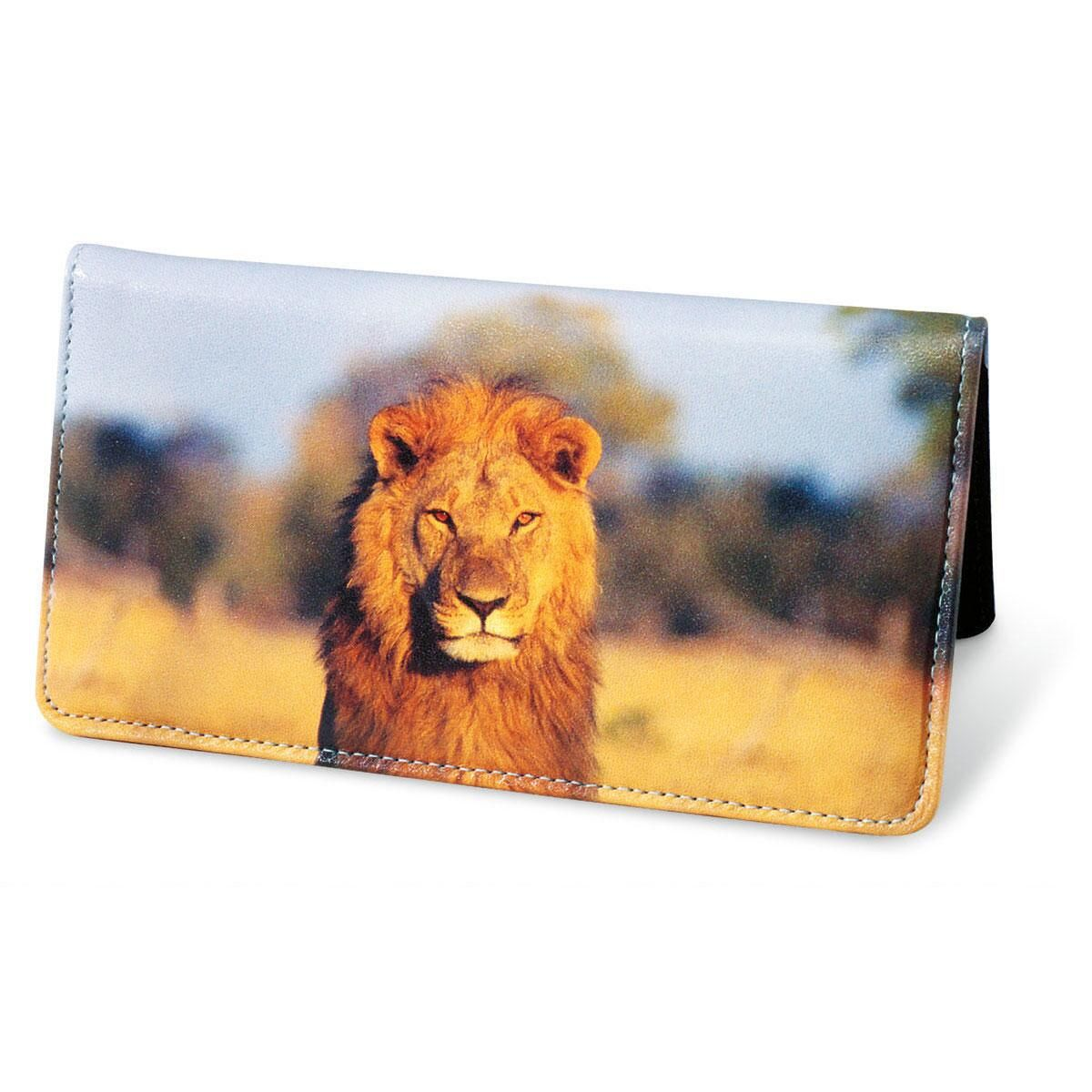 Wildlife of Africa Leather Personal Checkbook Cover