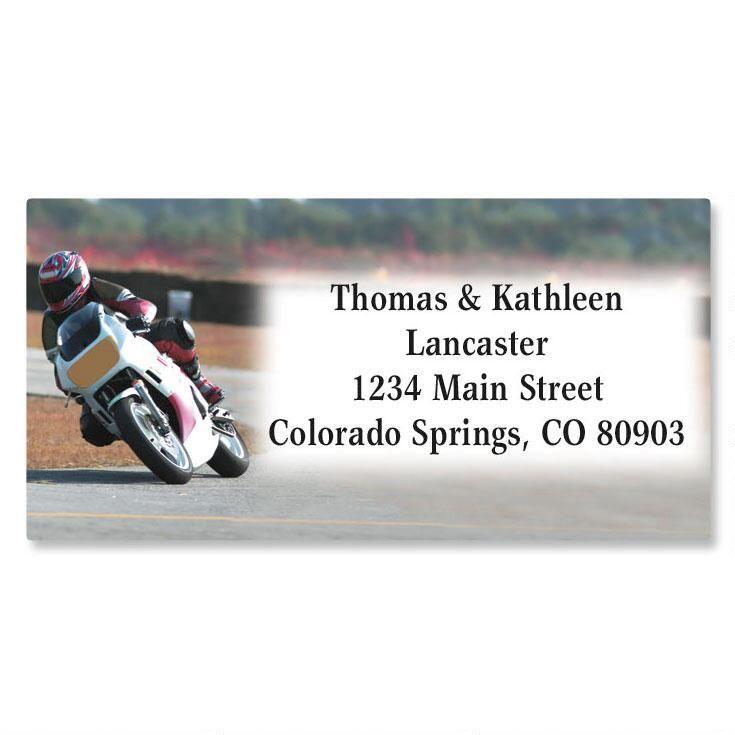 Motorcycle Border Address Labels