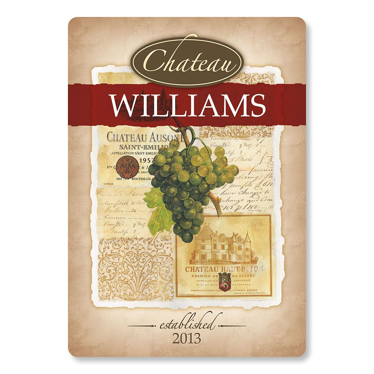 Wine Glass Personalized Custom Cutting Board