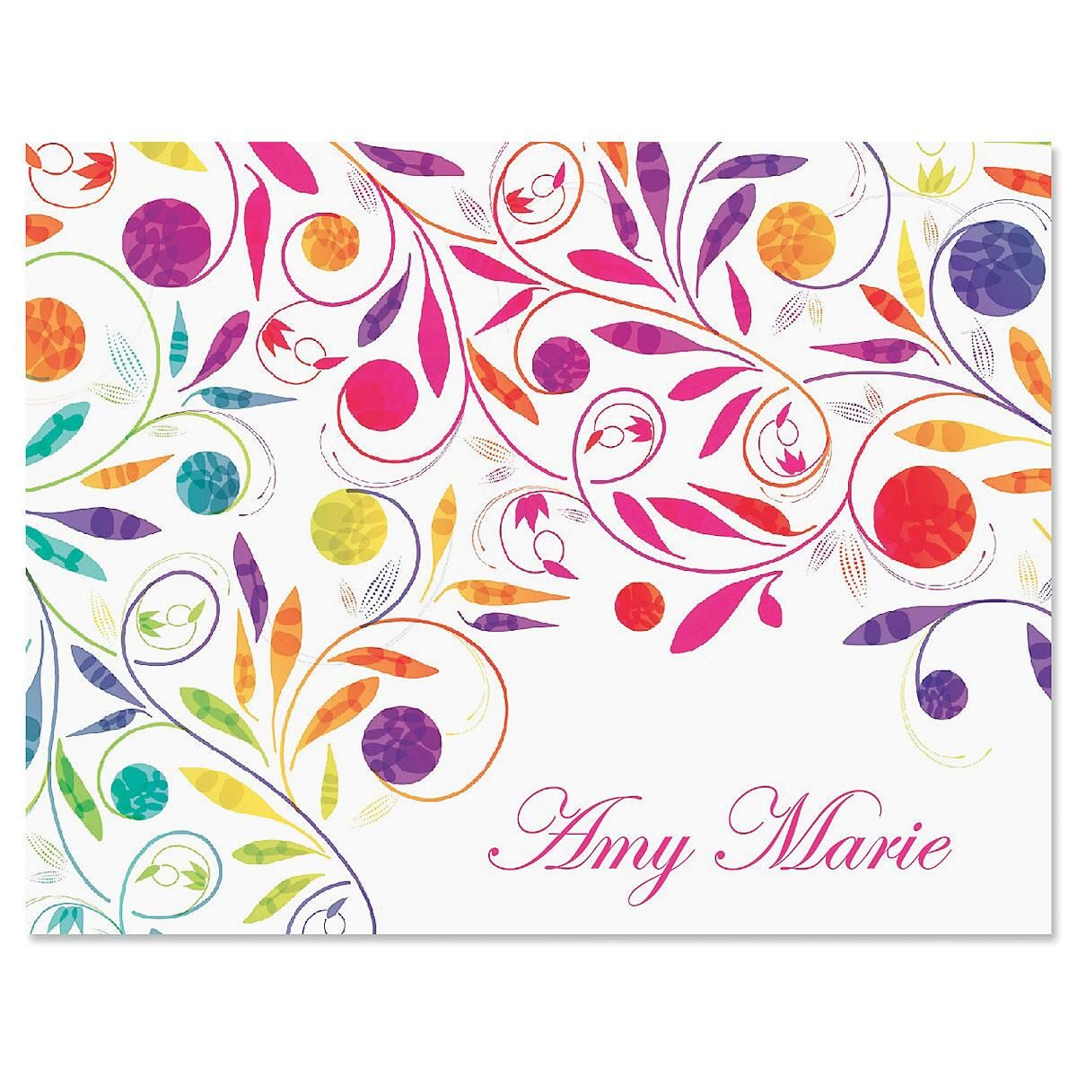 Color Swirl Note Cards - Set of 24