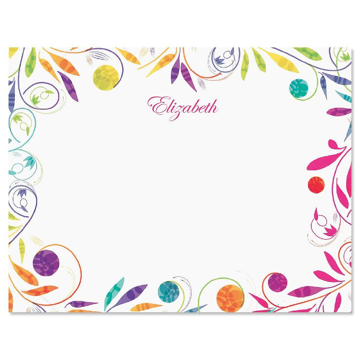 Color Swirl Personalized Correspondence Cards