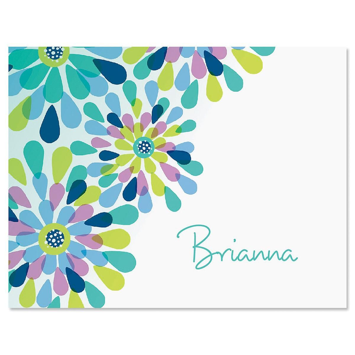 Fresh Blooms Personalized Note Cards - Set of 24