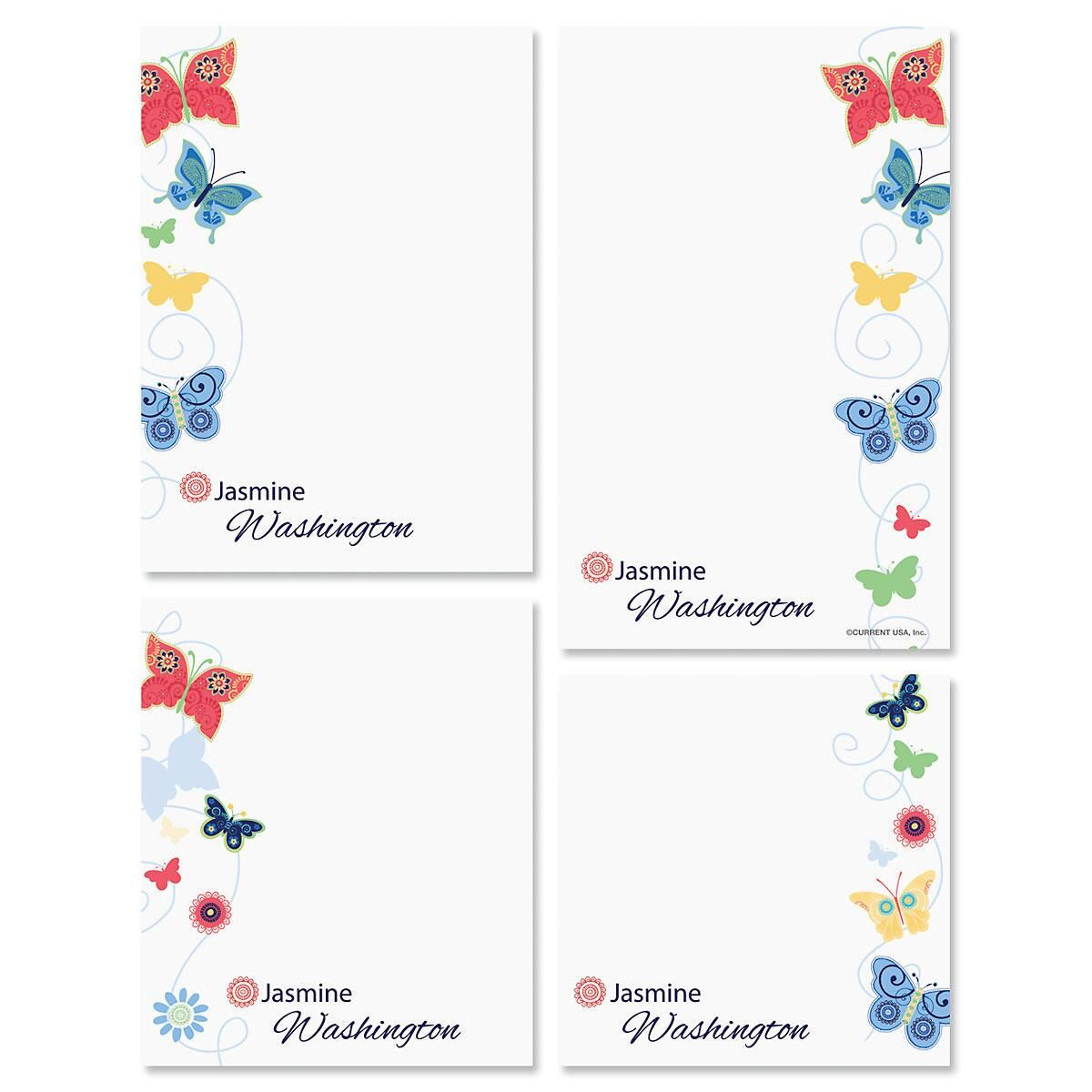 Delicate Butterflies Memo Pad Sets Colorful Images