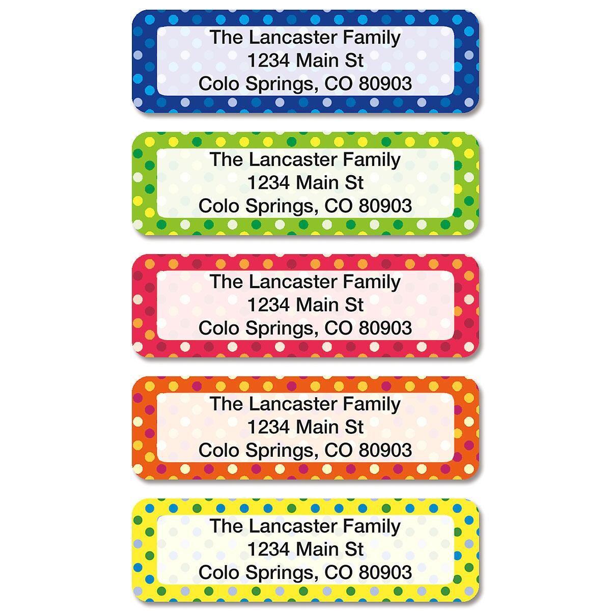 Dot Pattern Rolled Address Labels  (5 Designs)