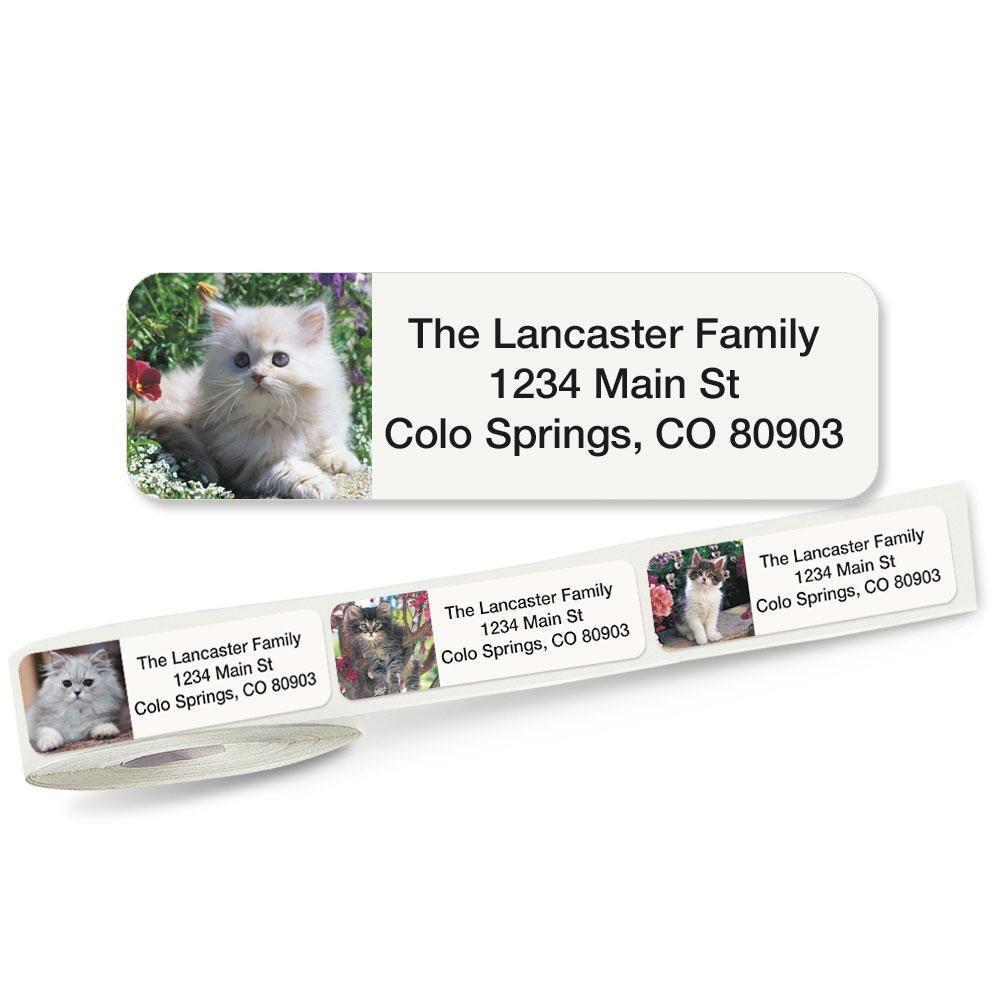 Cute Kittens Rolled Return Address Labels  (5 Designs)