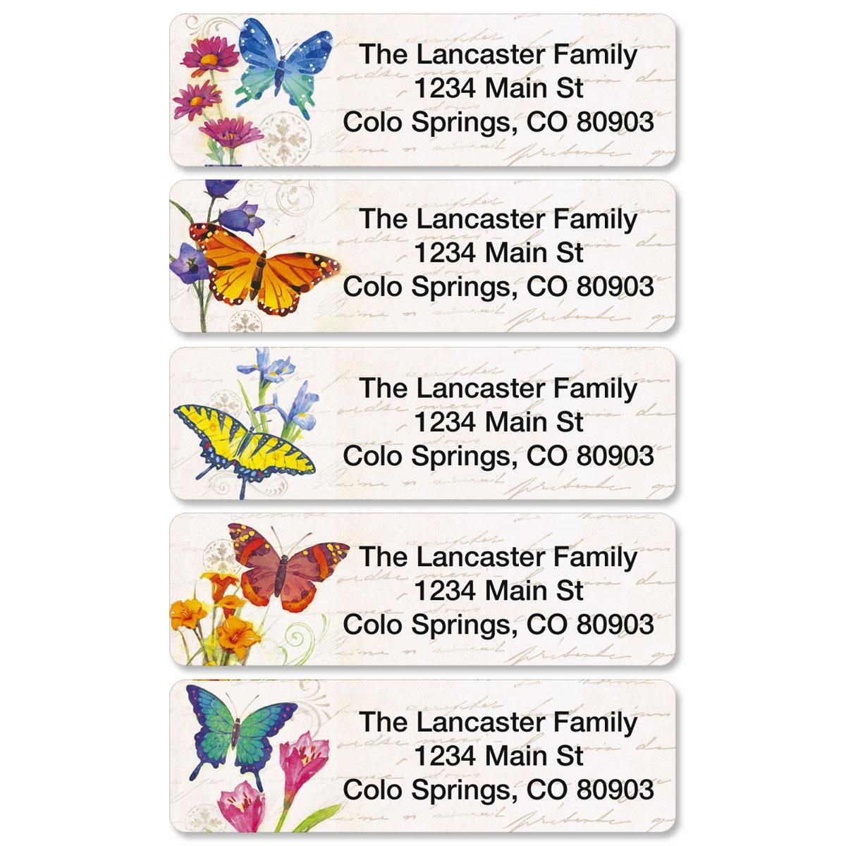 Butterflies and Flowers Rolled Return Address Labels  (5 Designs)
