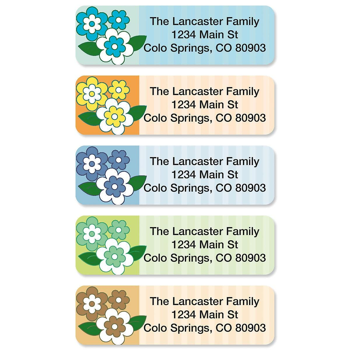 Flower Frenzy Rolled Address Labels  (5 Designs)