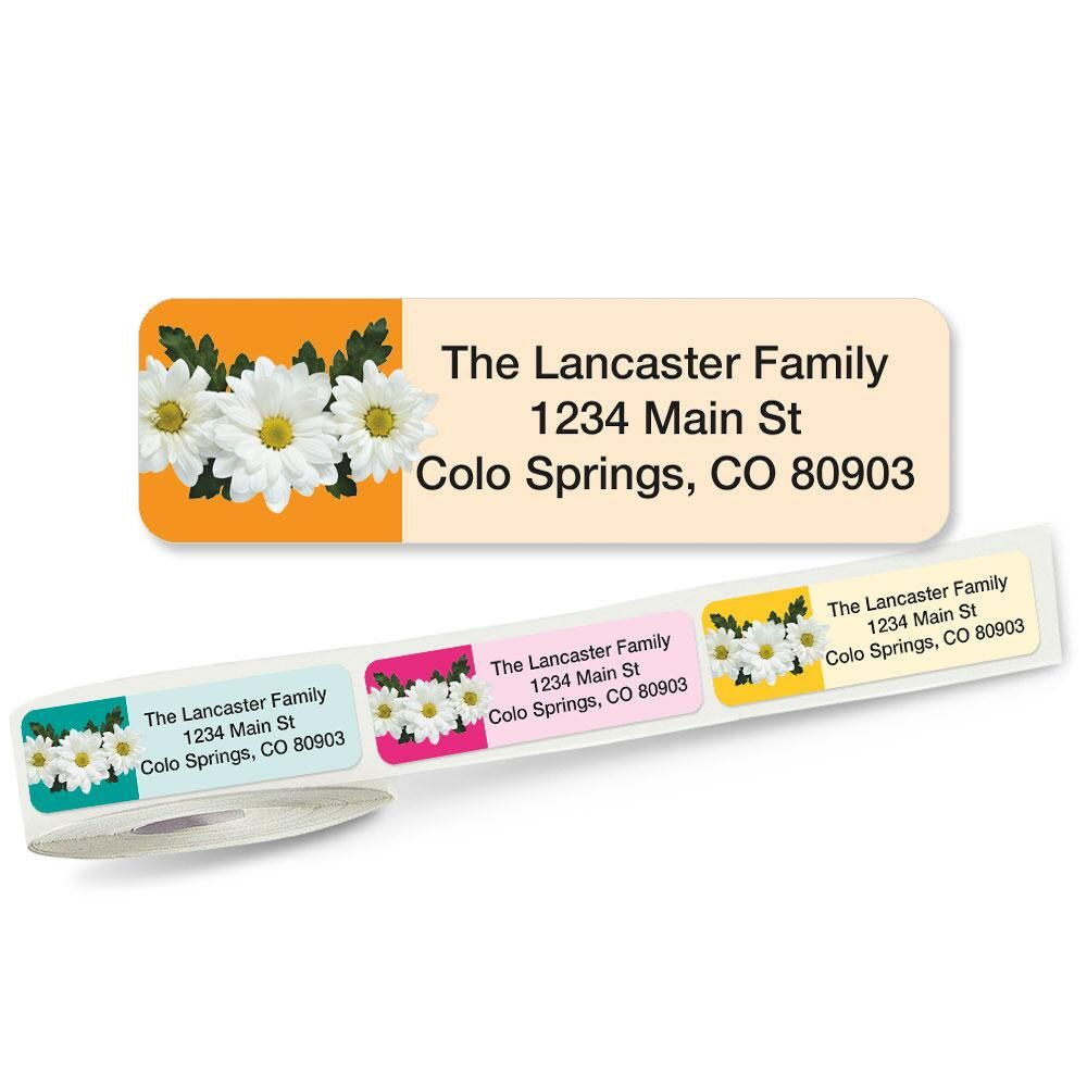 Photo Daisies Rolled Return Address Labels  (5 Designs)