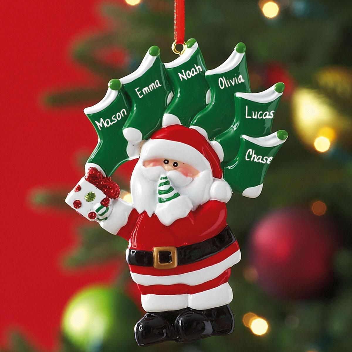 Santa with Green Stockings Ornament