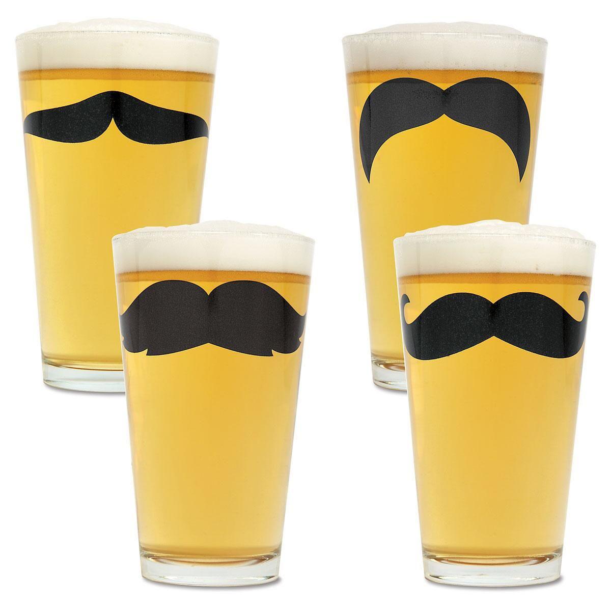 Mustache Pint Glass Set