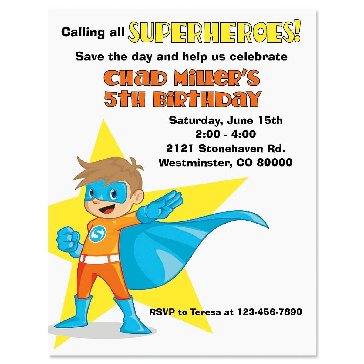 Super Kid Personalized Invitation