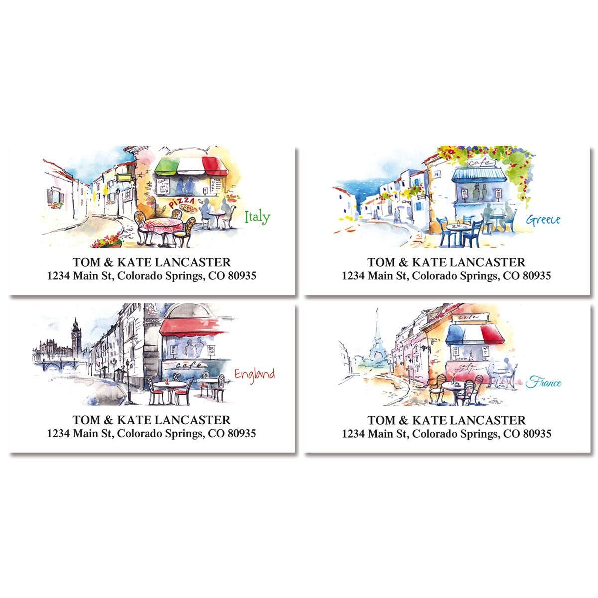 Tranquil Europe Deluxe Return Address Labels  (4 Designs)