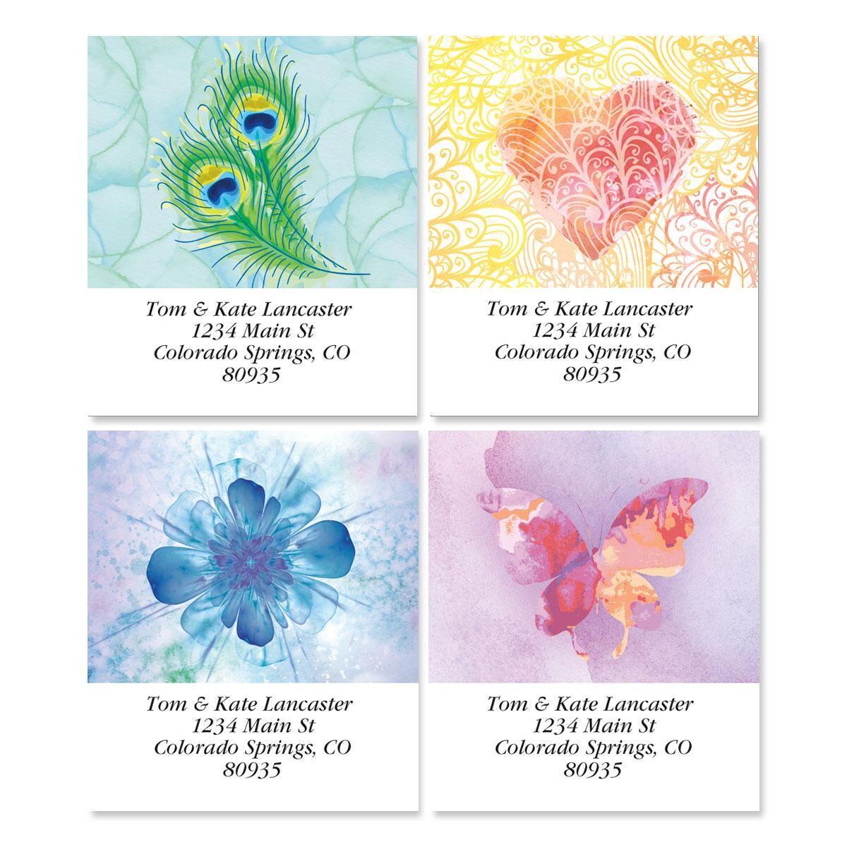 Bright Watercolors  Select Address Labels  (4 Designs)