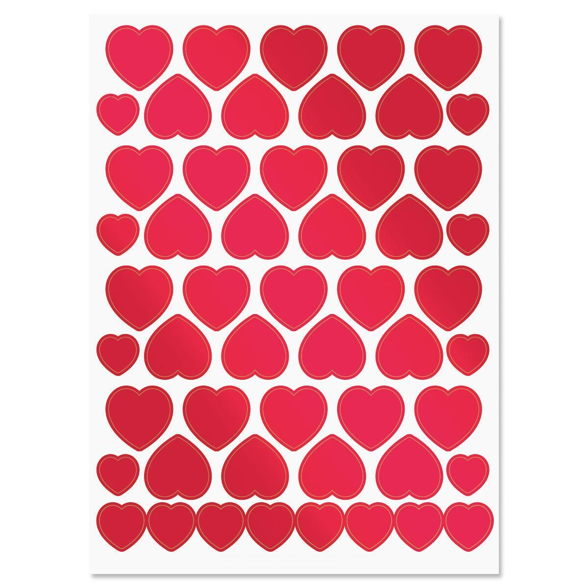 Foil Hearts Stickers