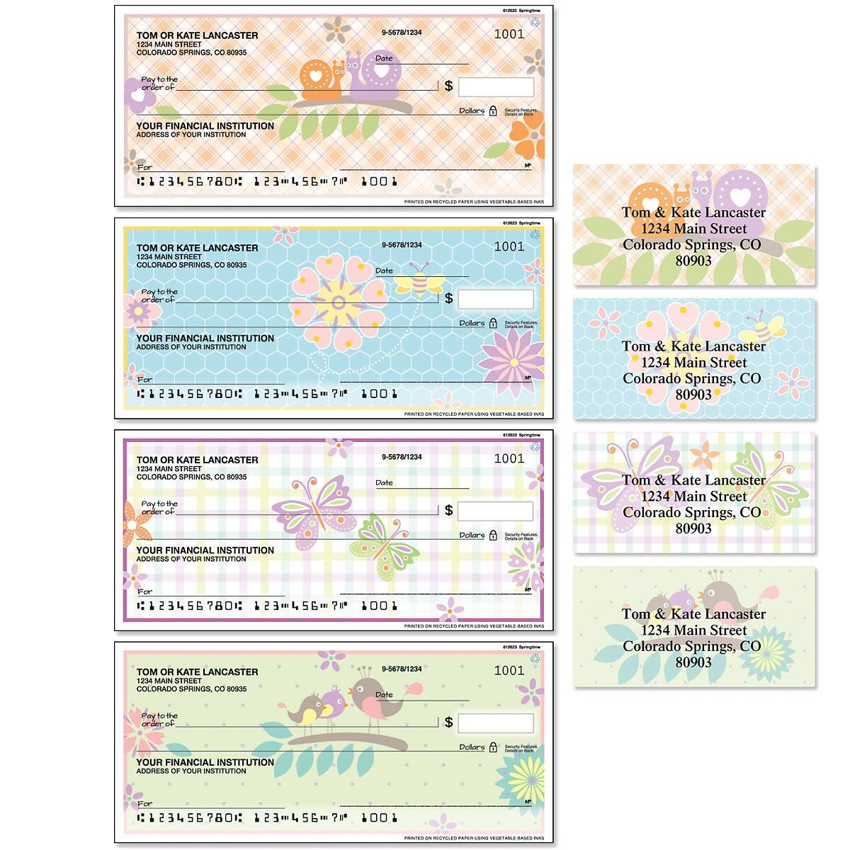 Springtime Single Checks with Matching Address Labels