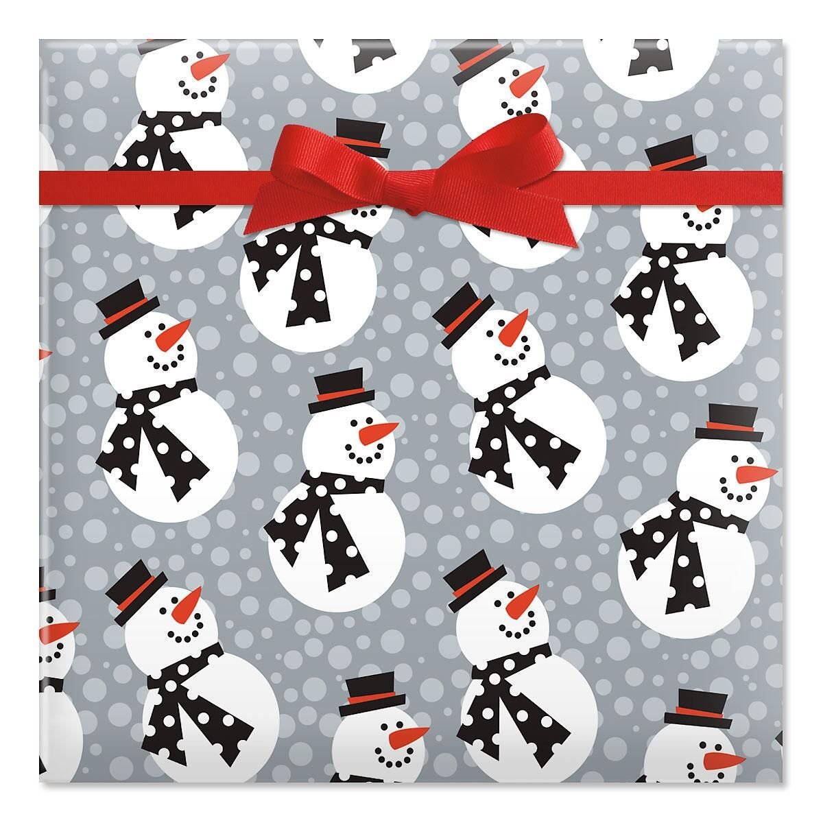 Snazzy Snowmen Holiday Jumbo Rolled Gift Wrap
