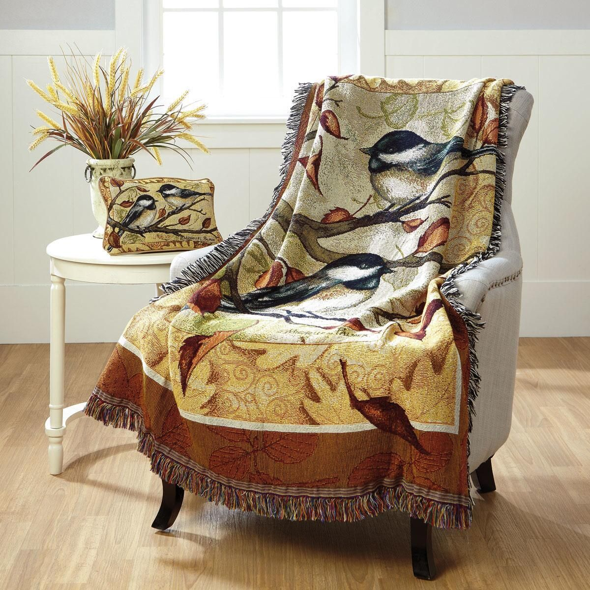 Autumn Chickadee Cotton Throw