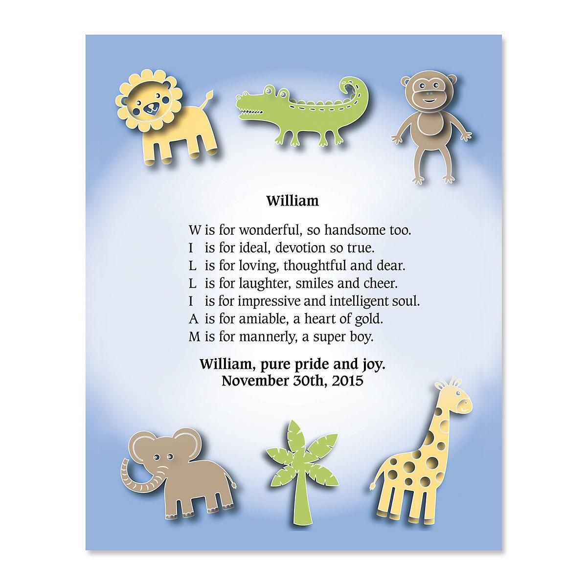 Zoo Animals Name Poem Print