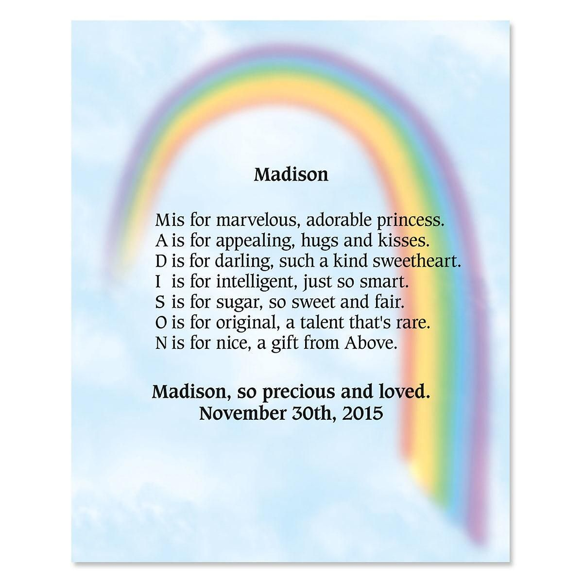 Rainbow Name Poem Print