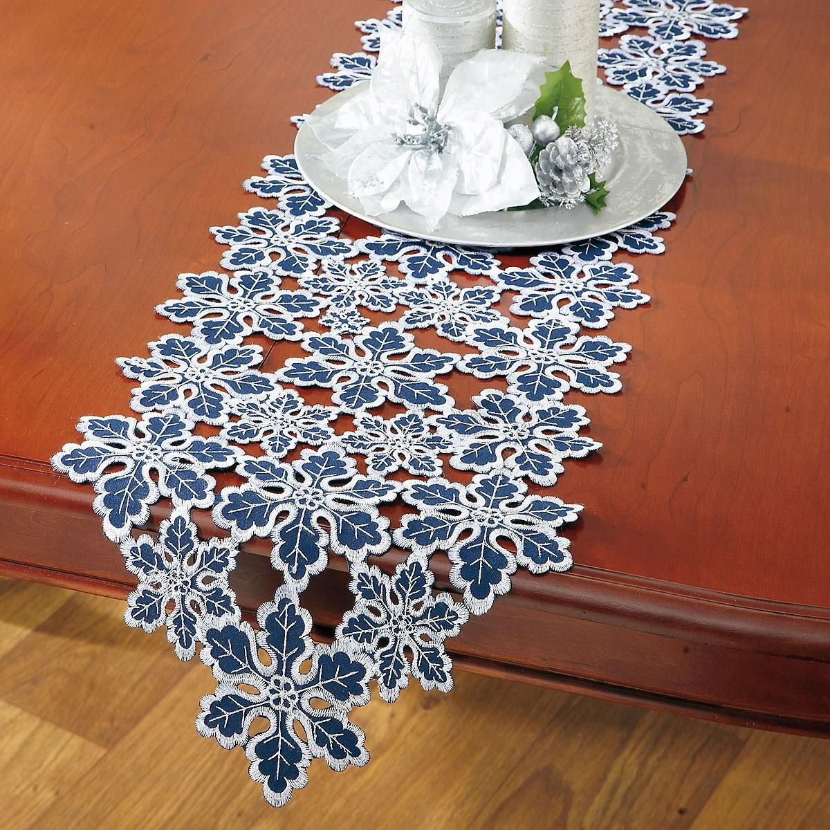Blue & Silver Snowflakes Cutwork Table Runner