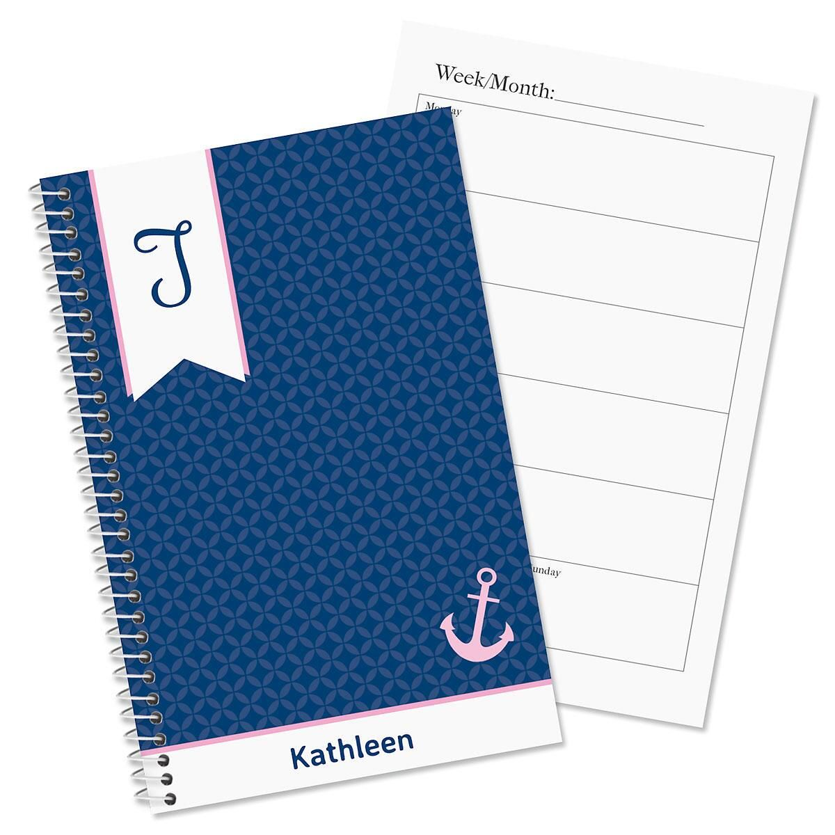 Ribbon initial personalized planner colorful images for Custom photo planner